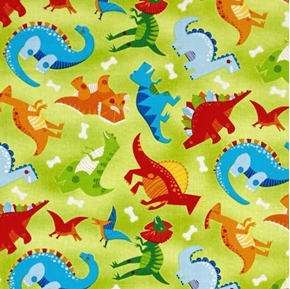 Picture of Dandy Dinos Dinosaurs Triceratops Stegosaurus Green Cotton Fabric