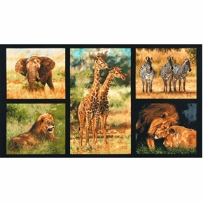 Picture of Nature Studies African Animal Giraffe Lion 24x44 Cotton Fabric Panel