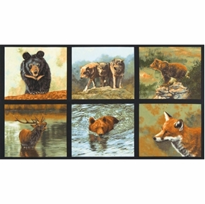 Nature Studies Woodland Animal Fox Bear Elk 24x44 Cotton Fabric Panel