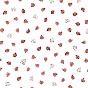 Flannel Little Buggers Ladybugs Tiny Bugs on White Cotton Fabric