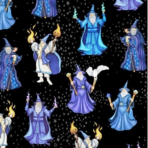 Picture of Spellbound Wizards Sorcerer Magic Spells Mystical Black Cotton Fabric