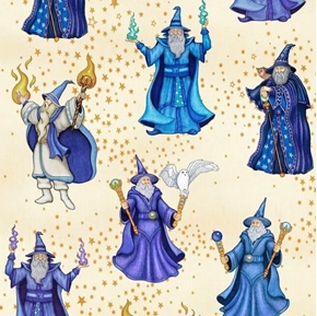 Spellbound Wizards Sorcerer Magic Spells Mystical Cream Cotton Fabric