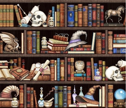 Picture of Spellbound Wizard Library Potions Skulls Magic Recipes Cotton Fabric