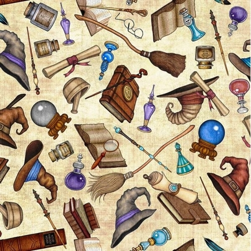 Picture of Spellbound Wizard Motifs Allover Potion Magic Wand Cream Cotton Fabric
