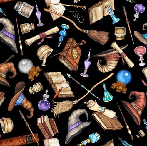 Spellbound Wizard Motifs Allover Potion Magic Wand Black Cotton Fabric