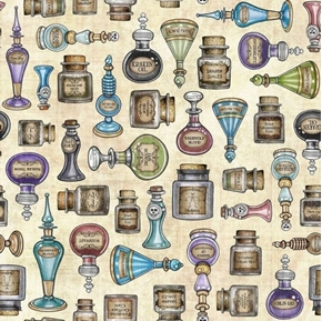 Picture of Spellbound Potions Wizard Magic Bottles Spells Cream Cotton Fabric