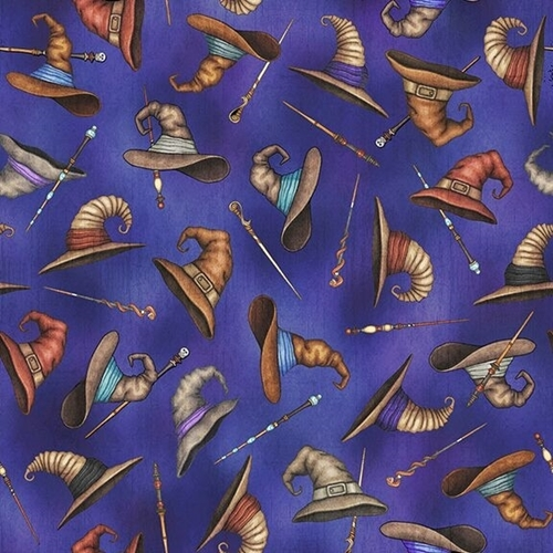 Picture of Spellbound Wizard Hats and Wands Magic Mystical Blue Cotton Fabric