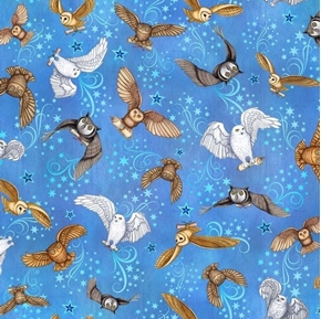 Picture of Spellbound Just Owls with Wizards Messages Magic Blue Cotton Fabric