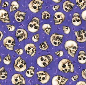 Spellbound Skulls Laughing Skull Heads Magic Purple Cotton Fabric