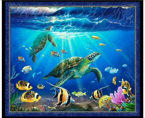 Picture of Artworks VIII Underwater Sea Turtle Digital Cotton Fabric Panel