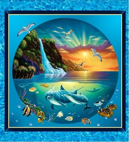 Artworks VIII Under the Sea Dolphin Waterfalls 24x22 Pillow Panel