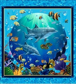 Picture of Artworks VIII Under the Sea Dolphin Fish 24x22 Pillow Panel