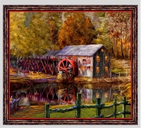 Picture of Artworks VIII Barn Mill American Flag 24x22 Cotton Pillow Panel