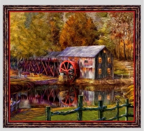 Artworks VIII Barn Mill American Flag 24x22 Cotton Pillow Panel