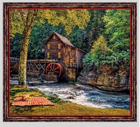 Picture of Artworks VIII Barn Mill Picnic in Woods 24x22  Cotton Pillow Panel