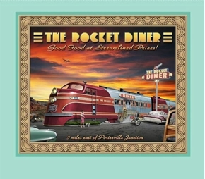Artworks VIII Retro Diner Rocket Diner Traincar Fabric Pillow Panel