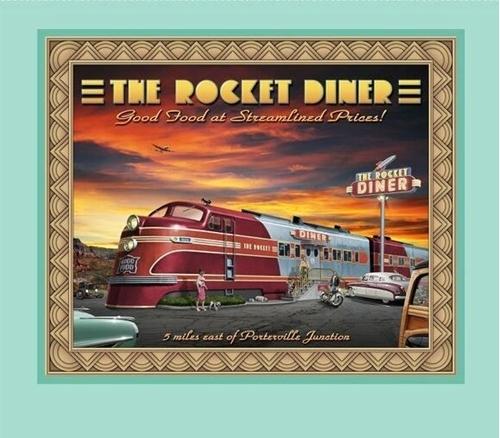 Artworks VIII Retro Diner Rocket Diner Traincar Fabric Pillow Panel