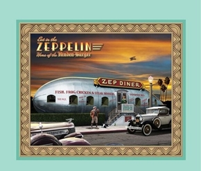 Picture of Artworks VIII Retro Diner Zeplin Zep Diner Cotton Fabric Pillow Panel