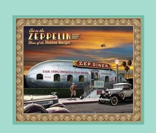 Artworks VIII Retro Diner Zeplin Zep Diner Cotton Fabric Pillow Panel