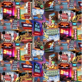 Artworks VIII Packed Marquees Motels Bar Bowling Digital Cotton Fabric