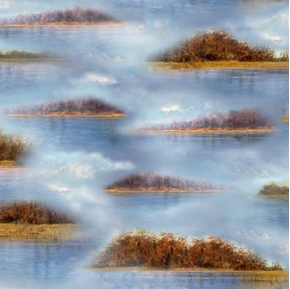 Picture of Duck Lake Lake Vignettes Islands in the Blue Water Cotton Fabric