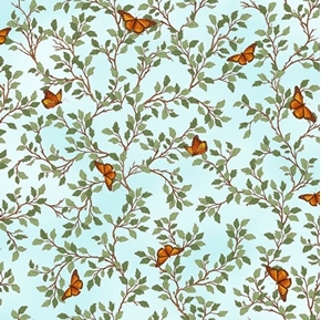 Picture of Serenity Prayer Butterfly Vine Butterflies Leaves Aqua Cotton Fabric