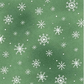 Picture of Just Chillin' Snowflakes White on Green Snowflake Cotton Fabric