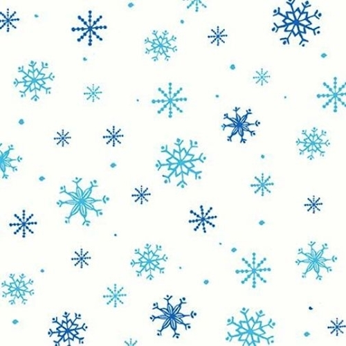 Picture of Just Chillin' Snowflakes Blue Aqua on White Snowflake Cotton Fabric