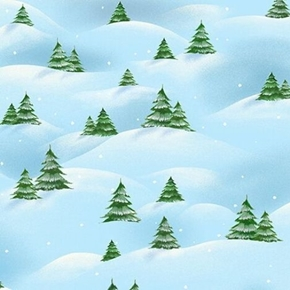 Just Chillin Christmas Tree Scenic Trees in Snow Cotton Fabric
