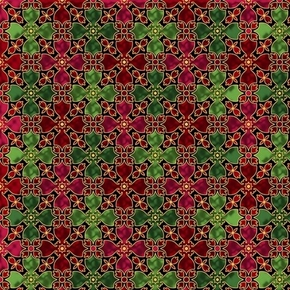 In Bethlehem Stained Glass Metallic Gold Red and Green Cotton Fabric