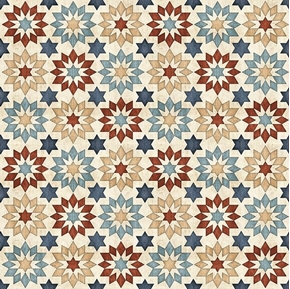 Picture of Bountiful Farm Stars Quilt Block Design Natural Ecru Cotton Fabric