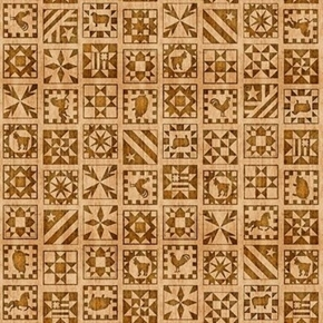 Picture of Bountiful Quilt Blocks Tiny Quilt Block Design Tan Cotton Fabric