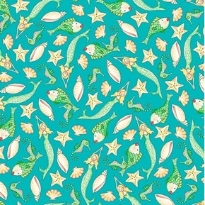 Picture of Mermaid Merriment Fish and Shells Mermaids Seahorse Teal Cotton Fabric