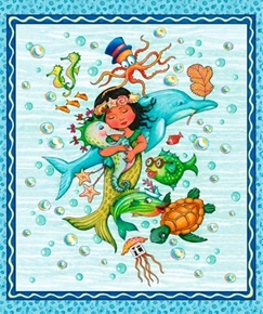 Picture of Mermaid Merriment Seahorse Turtle Octopus Cute Cotton Fabric Panel