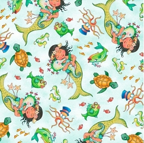 Picture of Mermaid Merriment Tossed Mermaids and Sea Creatures Cotton Fabric
