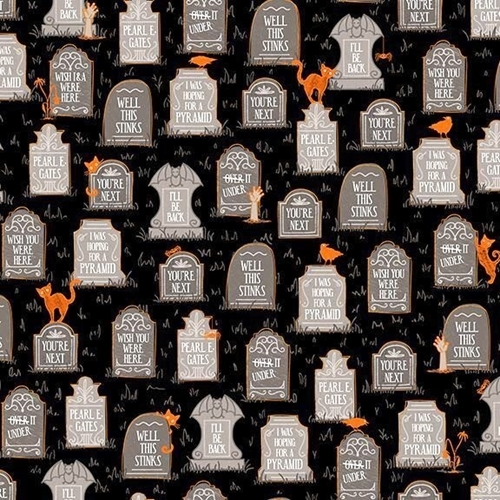 boos and ghouls gravestones funny graves halloween cotton fabric