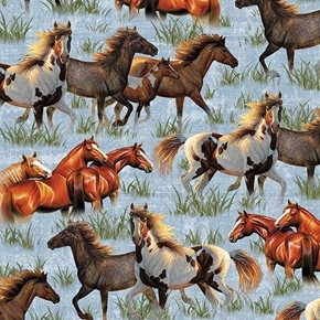Picture of Round Em Up Running Horses Wild Horse Blue Cotton Fabric