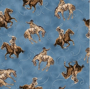 Picture of Round Em Up Cowboy on Horse Bronco Lasso Horses Blue Cotton Fabric