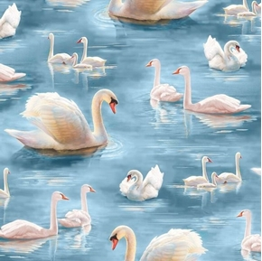 Picture of Splendid Swans Beautiful Swan Families in the Water Blue Cotton Fabric