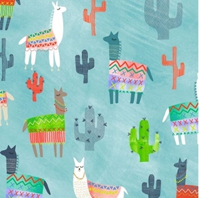 Alpaca Picnic Alpacas and Cactus Aqua Cotton Fabric