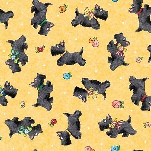 Marys Journey Scottie Dogs Mary Engelbreit Yellow Dog Cotton Fabric