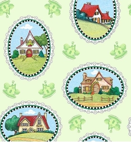 Marys Journey House Vignettes Mary Engelbreit Green Cotton Fabric