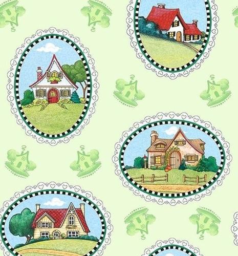 Marys Journey House Vignettes Mary Engelbreit Green Cotton Fabric