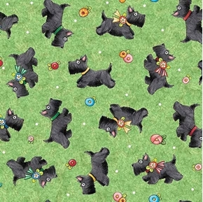Picture of Mary's Journey Scottie Dogs Mary Engelbreit Green Dog Cotton Fabric