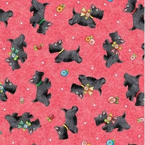 Picture of Mary's Journey Scottie Dogs Mary Engelbreit Red Dog Cotton Fabric