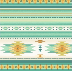 Tucson Southwest Aztec Native American Soft Mint Stripe Cotton Fabric