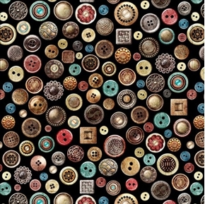 Picture of Seamless Packed Buttons Decorative Button Sewing Black Cotton Fabric