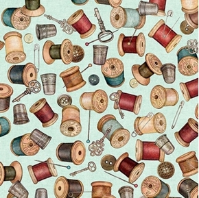 Picture of Seamless Spools Buttons Thimbles Sewing Notions Teal Cotton Fabric
