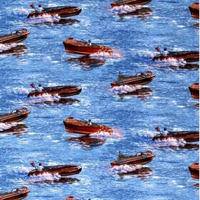 Classic Boats Boating Wood Motor Boat Cotton Fabric