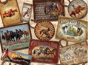 Picture of Round Em Up Horse Patch Rodeo Cowboy Welcome Signs Cotton Fabric